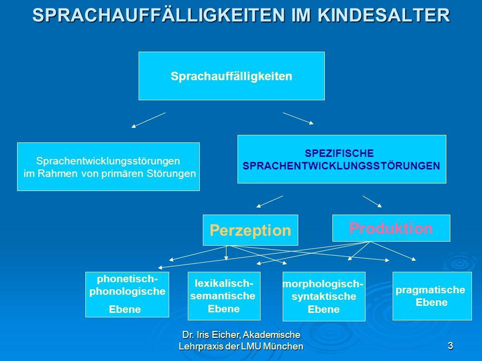 Dr. Iris Eicher, Akademische Lehrpraxis der LMU München3 SPRACHAUFFÄLLIGKEITEN IM KINDESALTER Sprachauffälligkeiten Sprachentwicklungsstörungen im Rah