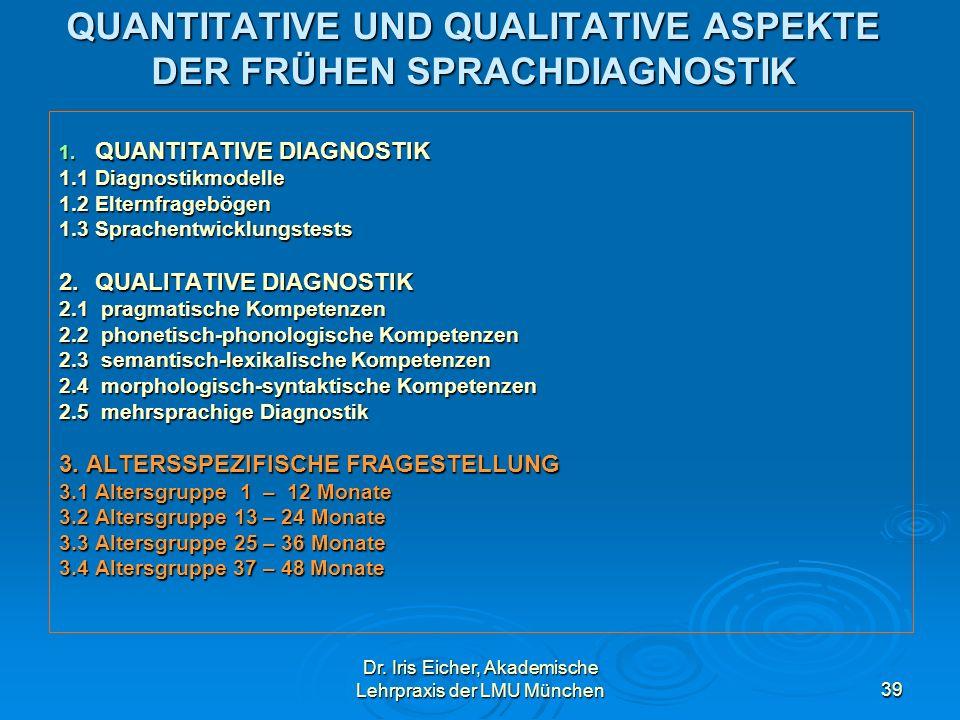 Dr. Iris Eicher, Akademische Lehrpraxis der LMU München39 QUANTITATIVE UND QUALITATIVE ASPEKTE DER FRÜHEN SPRACHDIAGNOSTIK 1. QUANTITATIVE DIAGNOSTIK
