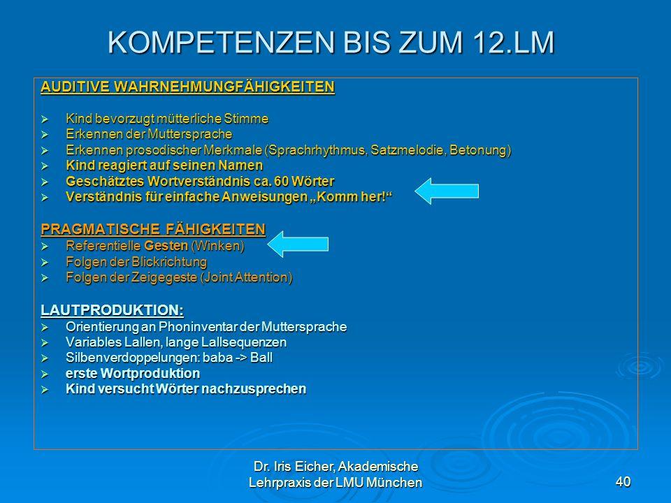 Dr. Iris Eicher, Akademische Lehrpraxis der LMU München40 KOMPETENZEN BIS ZUM 12.LM AUDITIVE WAHRNEHMUNGFÄHIGKEITEN Kind bevorzugt mütterliche Stimme