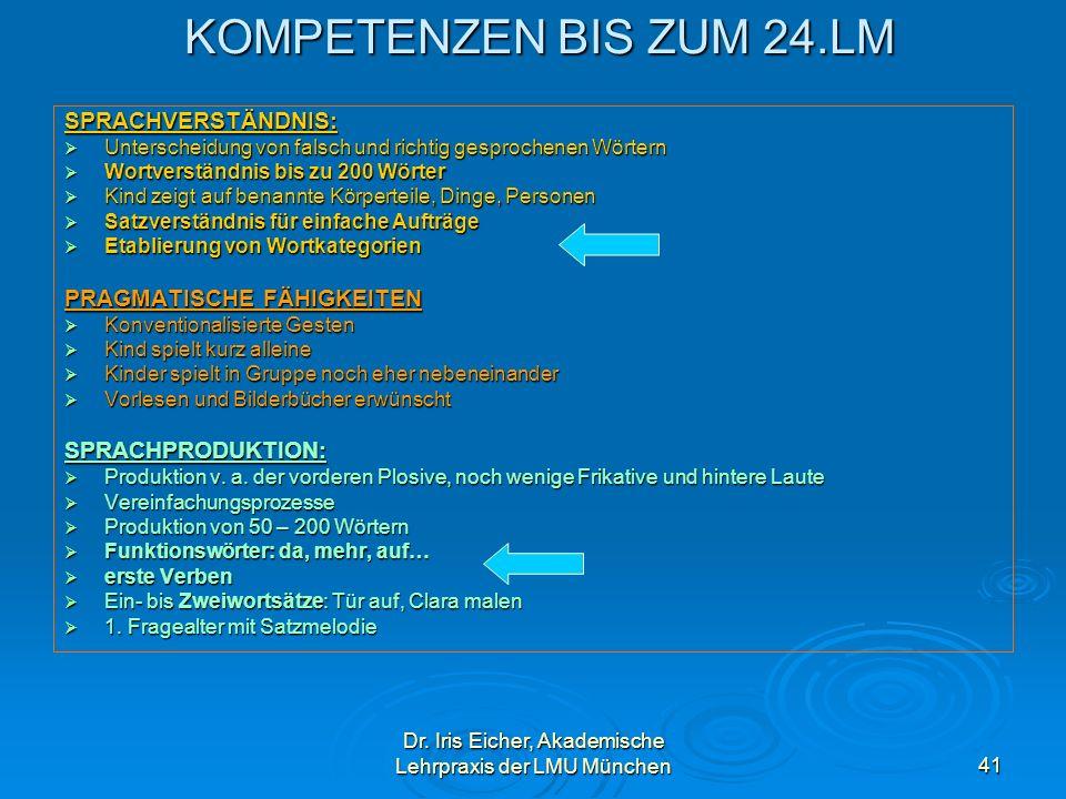 Dr. Iris Eicher, Akademische Lehrpraxis der LMU München41 KOMPETENZEN BIS ZUM 24.LM KOMPETENZEN BIS ZUM 24.LMSPRACHVERSTÄNDNIS: Unterscheidung von fal