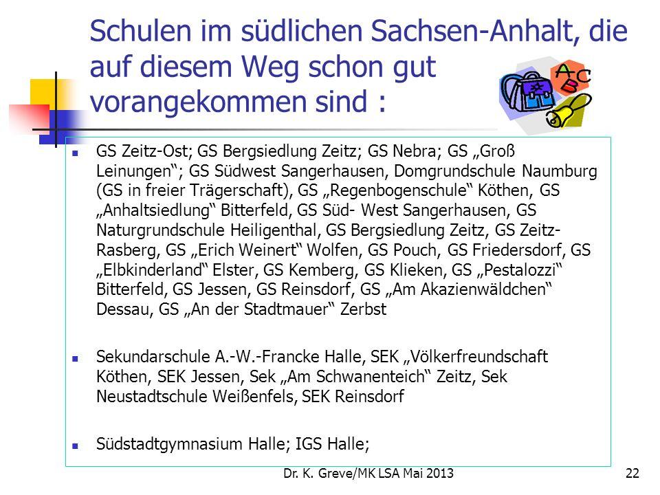 Schulen im südlichen Sachsen-Anhalt, die auf diesem Weg schon gut vorangekommen sind : GS Zeitz-Ost; GS Bergsiedlung Zeitz; GS Nebra; GS Groß Leinunge