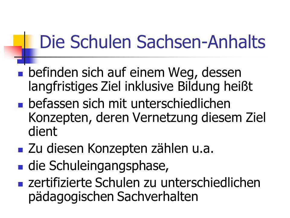 Die Schulen Sachsen-Anhalts befinden sich auf einem Weg, dessen langfristiges Ziel inklusive Bildung heißt befassen sich mit unterschiedlichen Konzept
