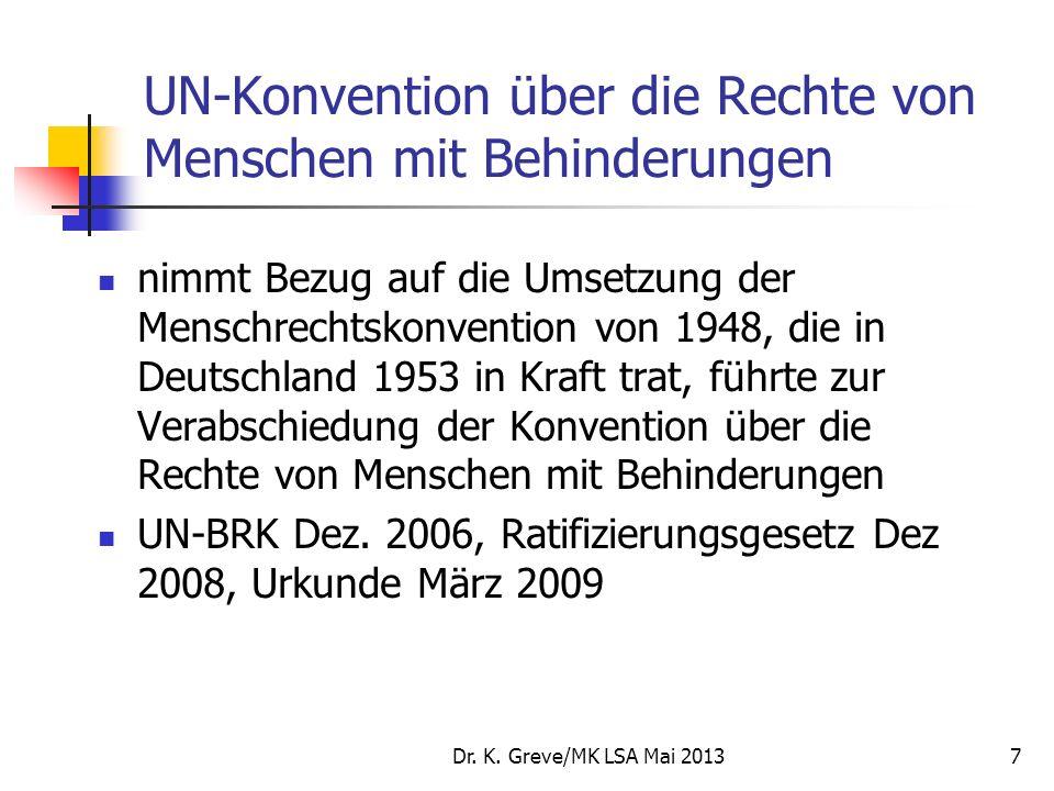UN-Konvention über die Rechte von Menschen mit Behinderungen nimmt Bezug auf die Umsetzung der Menschrechtskonvention von 1948, die in Deutschland 195