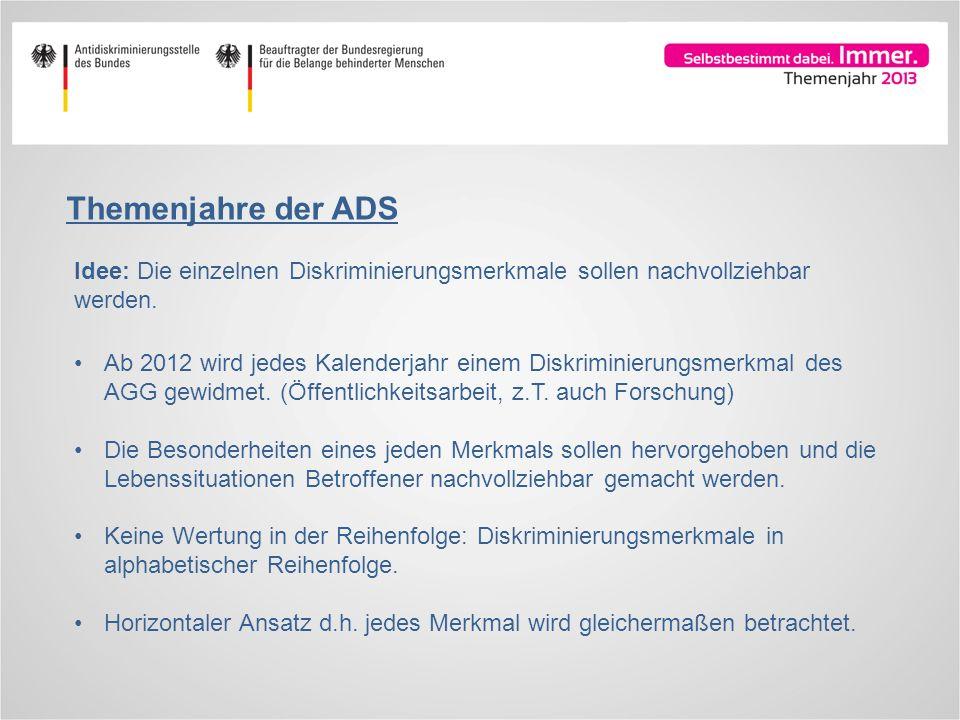 Themenjahre der ADS Idee: Die einzelnen Diskriminierungsmerkmale sollen nachvollziehbar werden. Ab 2012 wird jedes Kalenderjahr einem Diskriminierungs