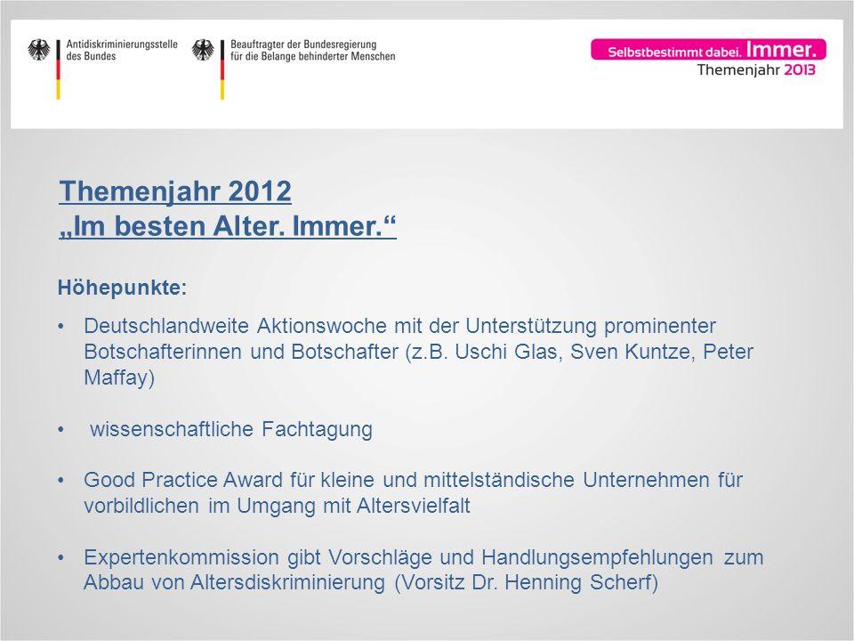 Höhepunkte: Deutschlandweite Aktionswoche mit der Unterstützung prominenter Botschafterinnen und Botschafter (z.B. Uschi Glas, Sven Kuntze, Peter Maff