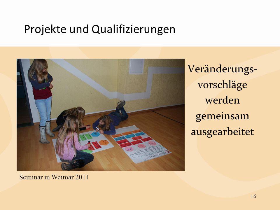Projekte und Qualifizierungen Veränderungs- vorschläge werden gemeinsam ausgearbeitet 16 Seminar in Weimar 2011