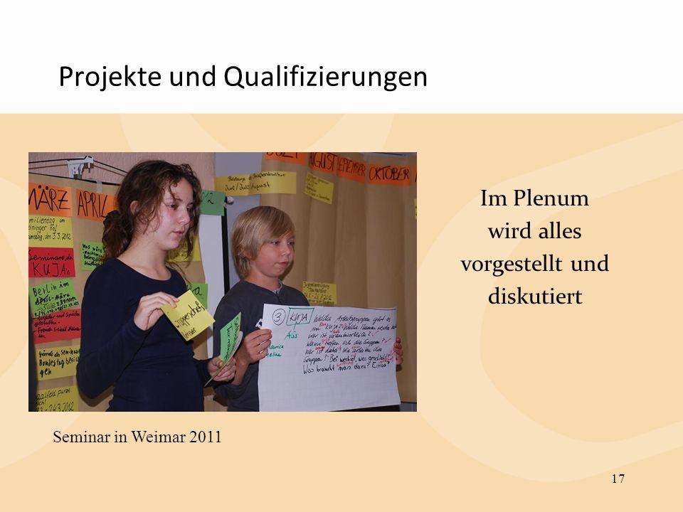 Projekte und Qualifizierungen Im Plenum wird alles vorgestellt und diskutiert 17 Seminar in Weimar 2011