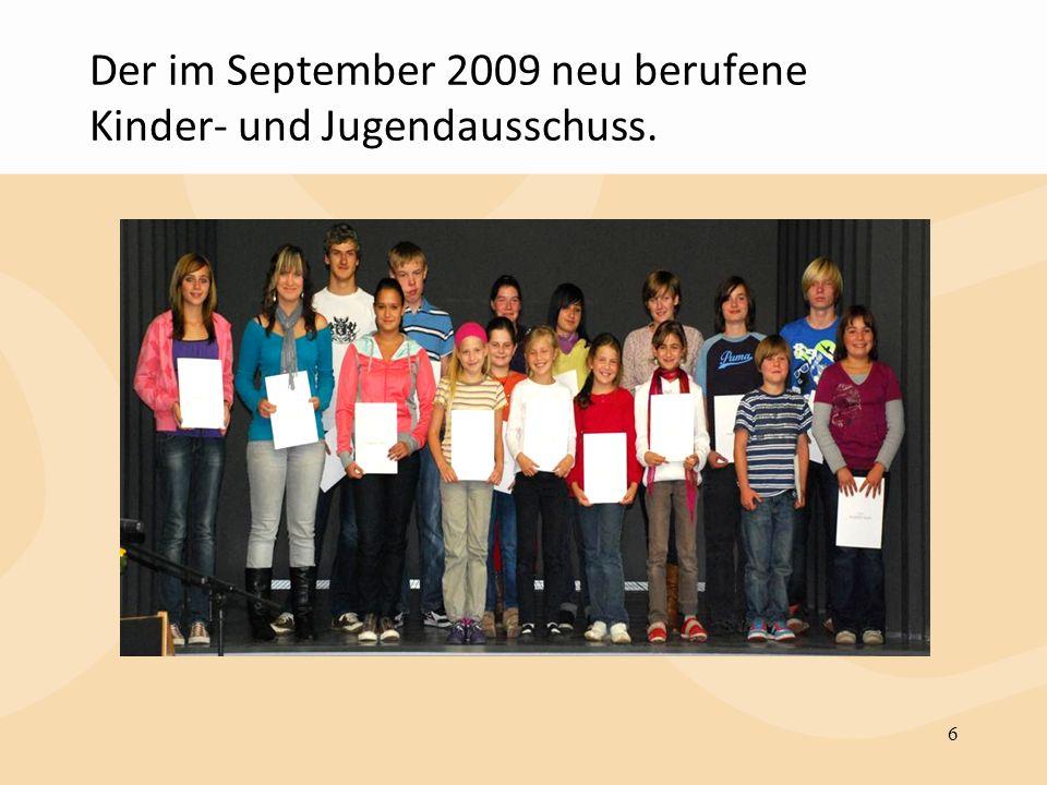 Der im September 2009 neu berufene Kinder- und Jugendausschuss. 6
