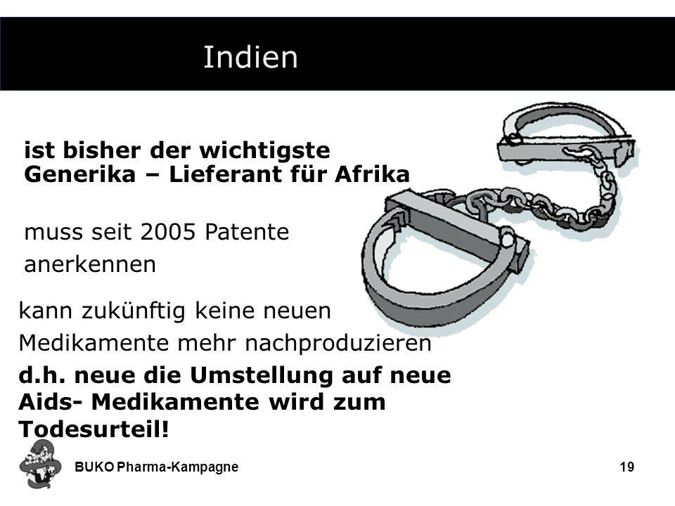 BUKO Pharma-Kampagne19 Indien ist bisher der wichtigste Generika – Lieferant für Afrika muss seit 2005 Patente anerkennen kann zukünftig keine neuen M