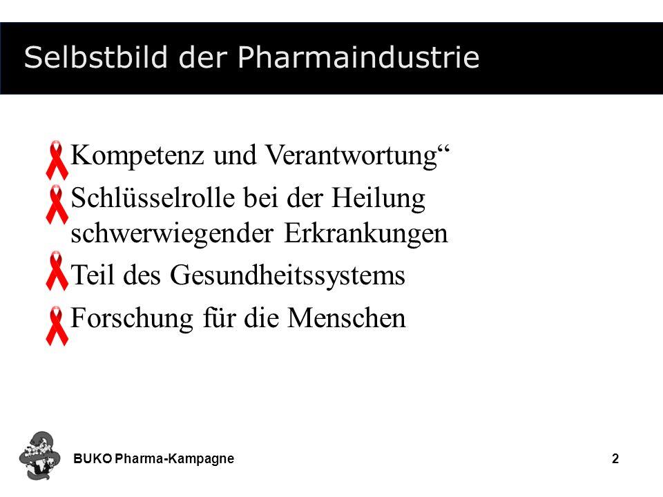 BUKO Pharma-Kampagne2 Selbstbild der Pharmaindustrie Kompetenz und Verantwortung Schlüsselrolle bei der Heilung schwerwiegender Erkrankungen Teil des