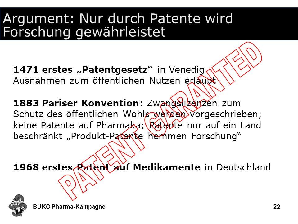 BUKO Pharma-Kampagne22 Argument: Nur durch Patente wird Forschung gewährleistet 1471 erstes Patentgesetz in Venedig Ausnahmen zum öffentlichen Nutzen