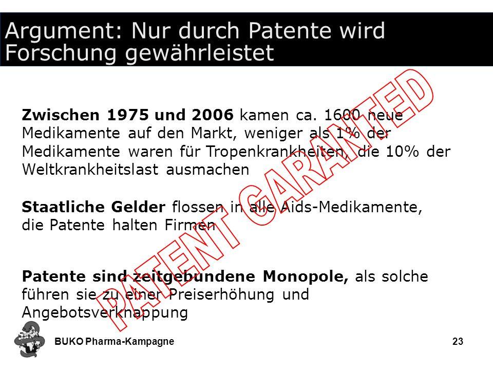 BUKO Pharma-Kampagne23 Argument: Nur durch Patente wird Forschung gewährleistet Zwischen 1975 und 2006 kamen ca. 1600 neue Medikamente auf den Markt,