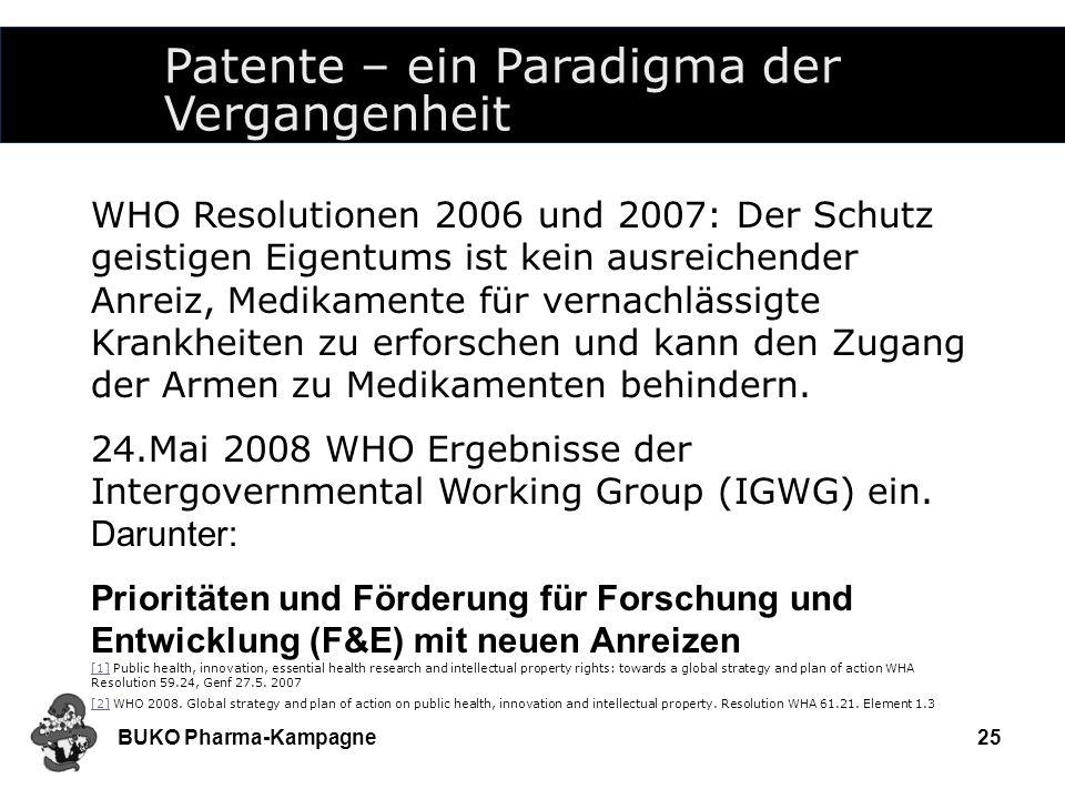 BUKO Pharma-Kampagne25 Patente – ein Paradigma der Vergangenheit WHO Resolutionen 2006 und 2007: Der Schutz geistigen Eigentums ist kein ausreichender