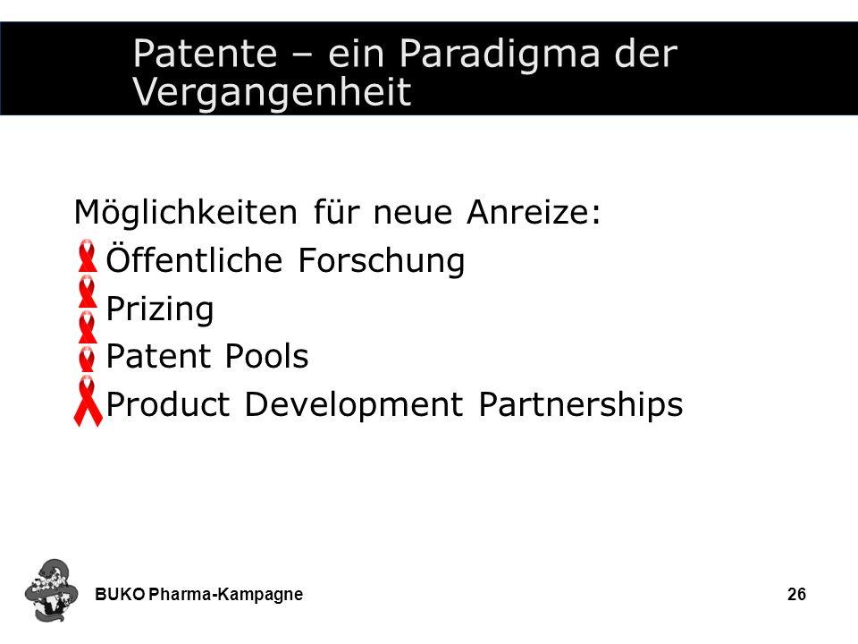 BUKO Pharma-Kampagne26 Möglichkeiten für neue Anreize: Öffentliche Forschung Prizing Patent Pools Product Development Partnerships Patente – ein Parad