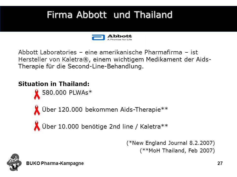 BUKO Pharma-Kampagne27 Firma Abbott und Thailand ®, einem wichtigem Medikament der Aids- Therapie für die Second-Line-Behandlung. Abbott Laboratories