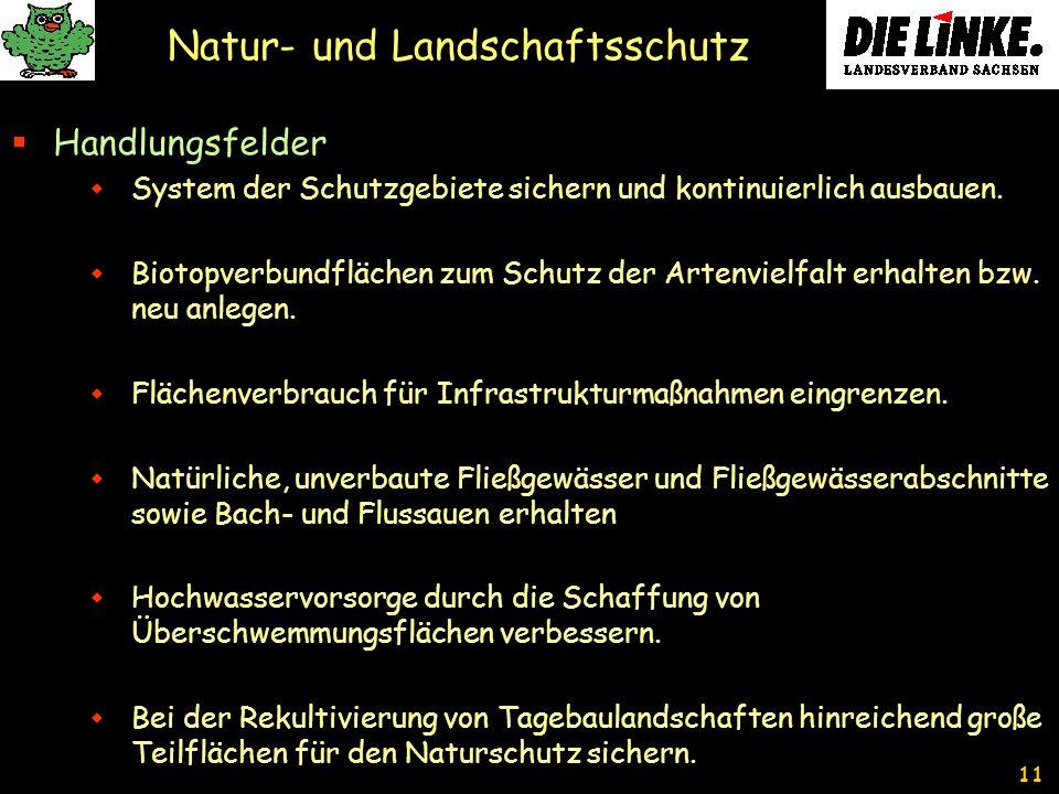 11 Natur- und Landschaftsschutz Handlungsfelder System der Schutzgebiete sichern und kontinuierlich ausbauen.