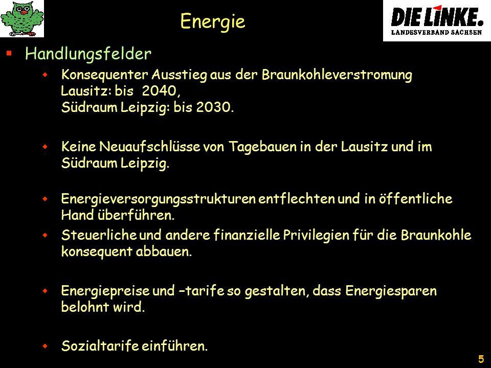 5 Energie Handlungsfelder Konsequenter Ausstieg aus der Braunkohleverstromung Lausitz: bis 2040, Südraum Leipzig: bis 2030.