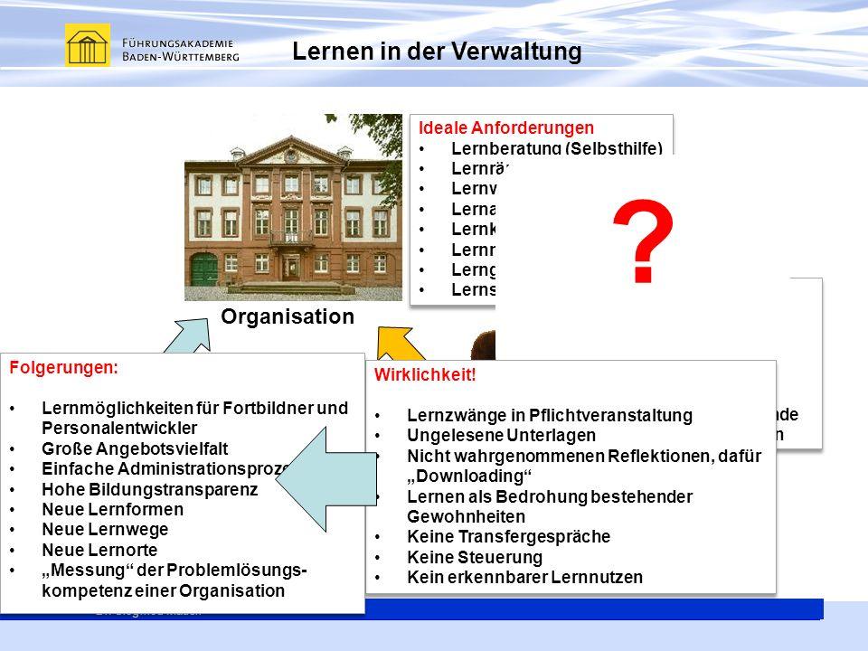 Generalsekretär Thomas E. Berg Dr. Siegfried Mauch Lernen in der Verwaltung Organisation Mensch Technik Ideale Anforderungen Lernberatung (Selbsthilfe