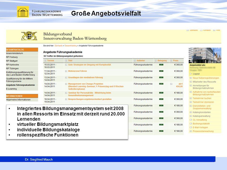 Generalsekretär Thomas E. Berg Dr. Siegfried Mauch Große Angebotsvielfalt Integriertes Bildungsmanagementsystem seit 2008 in allen Ressorts im Einsatz