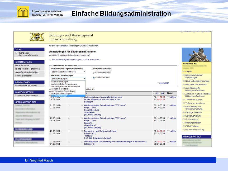 Generalsekretär Thomas E. Berg Dr. Siegfried Mauch Einfache Bildungsadministration