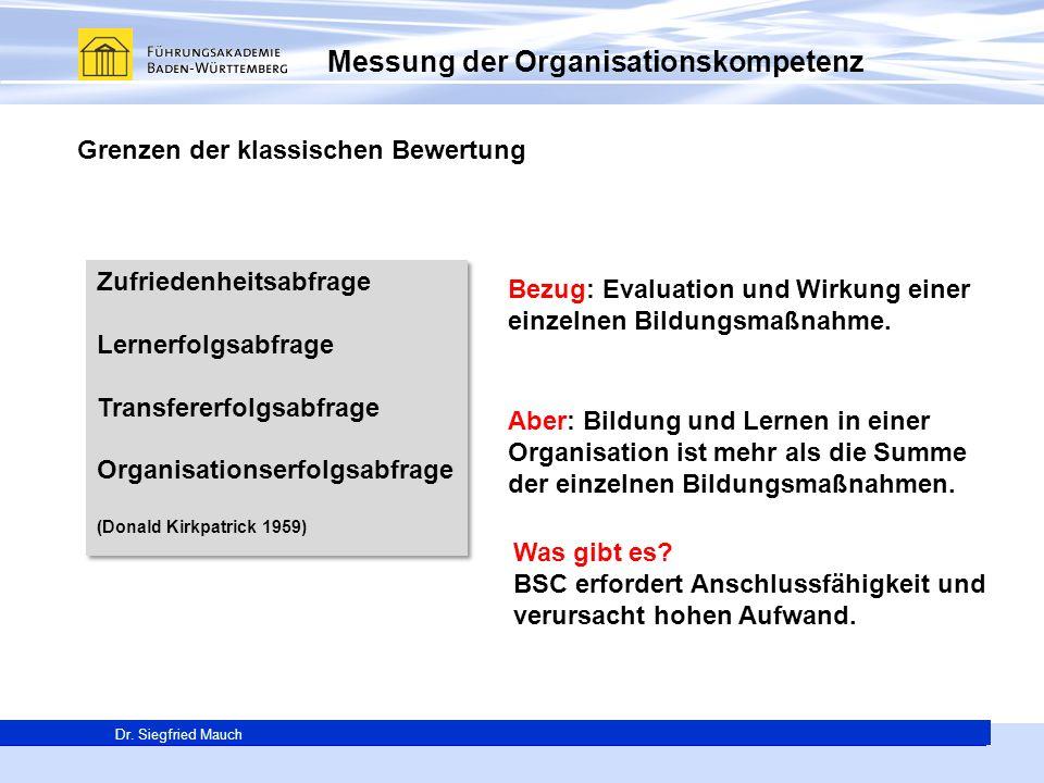 Generalsekretär Thomas E. Berg Dr. Siegfried Mauch Messung der Organisationskompetenz Grenzen der klassischen Bewertung Zufriedenheitsabfrage Lernerfo
