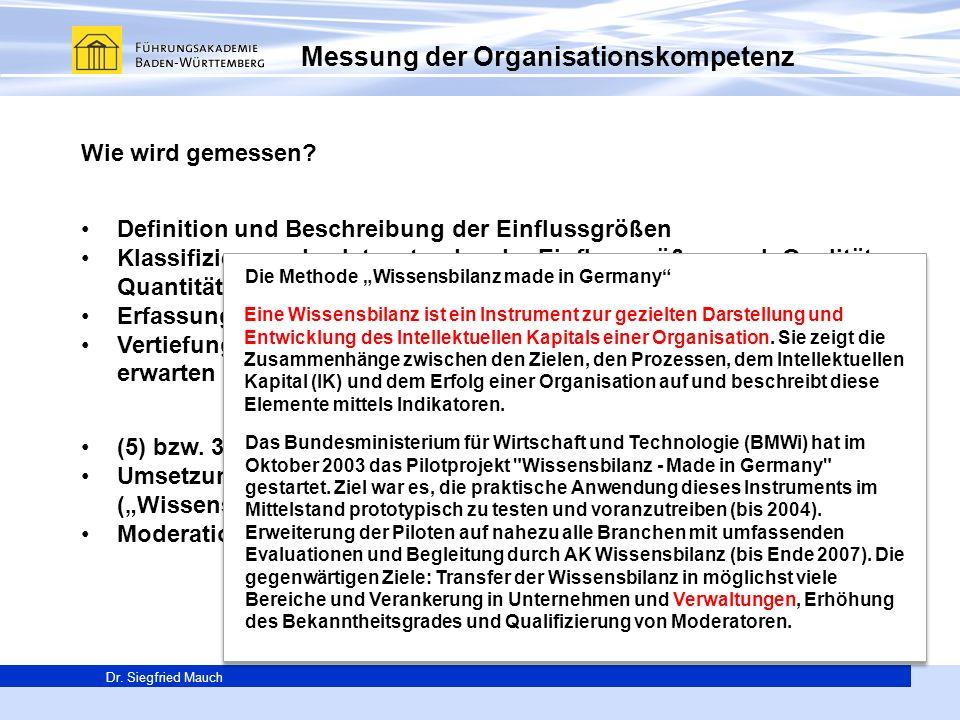 Generalsekretär Thomas E. Berg Dr. Siegfried Mauch Messung der Organisationskompetenz Wie wird gemessen? Definition und Beschreibung der Einflussgröße