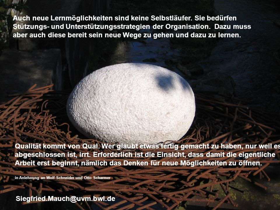 Generalsekretär Thomas E. Berg Dr. Siegfried Mauch Auch neue Lernmöglichkeiten sind keine Selbstläufer. Sie bedürfen Stützungs- und Unterstützungsstra