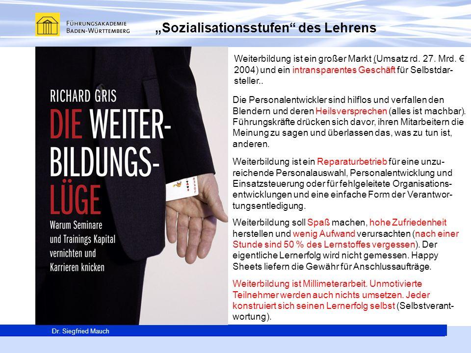 Generalsekretär Thomas E. Berg Dr. Siegfried Mauch Weiterbildung ist ein großer Markt (Umsatz rd. 27. Mrd. 2004) und ein intransparentes Geschäft für