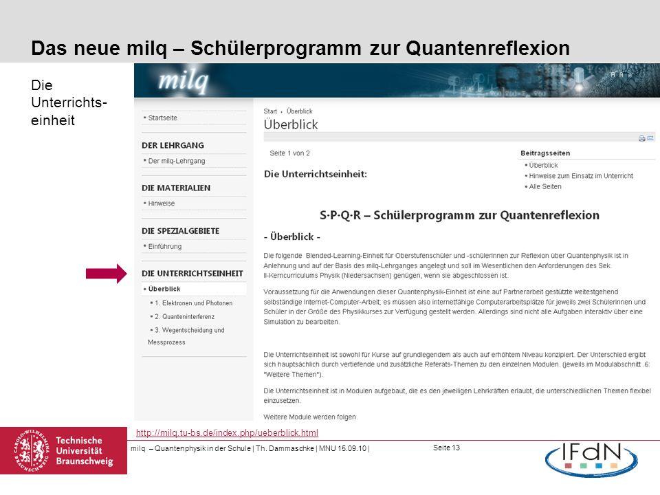 Seite 13 Das neue milq – Schülerprogramm zur Quantenreflexion Die Unterrichts- einheit milq – Quantenphysik in der Schule | Th. Dammaschke | MNU 15.09
