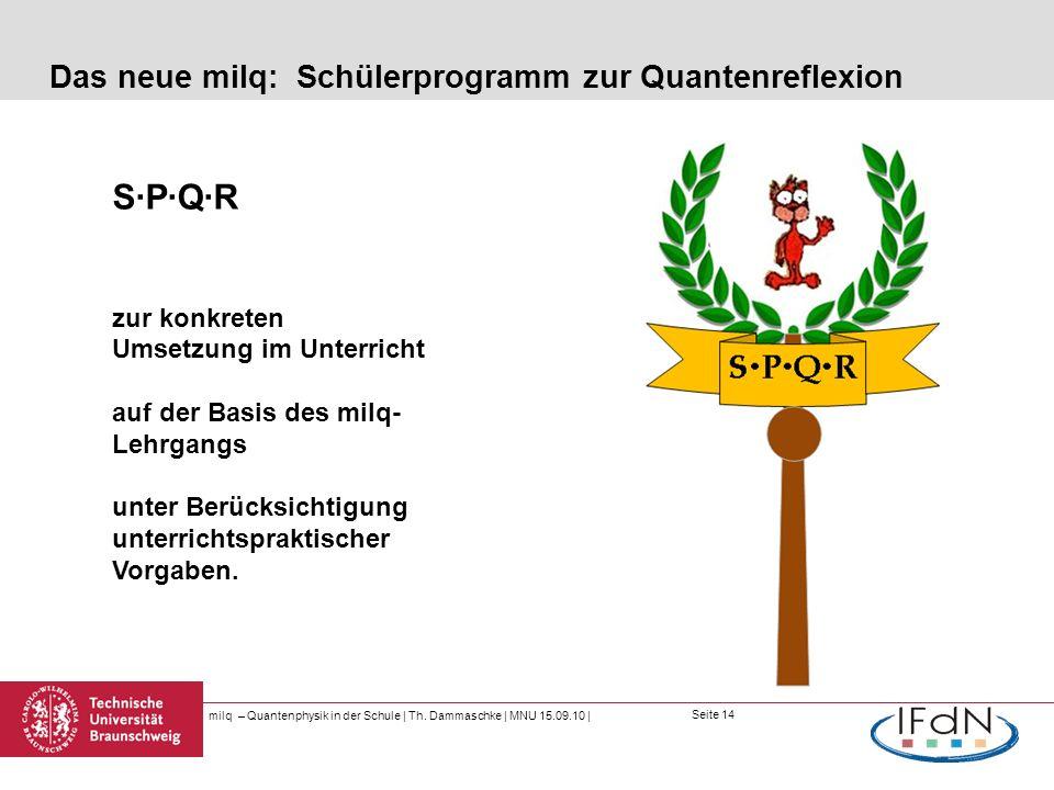 Seite 14 Das neue milq: Schülerprogramm zur Quantenreflexion milq – Quantenphysik in der Schule | Th. Dammaschke | MNU 15.09.10 | S·P·Q·R zur konkrete