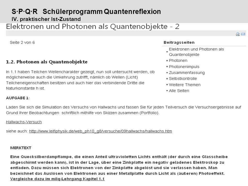 Seite 19 S·P·Q·R Schülerprogramm Quantenreflexion IV. praktischer Ist-Zustand milq – Quantenphysik in der Schule | Th. Dammaschke | MNU 15.09.10 |