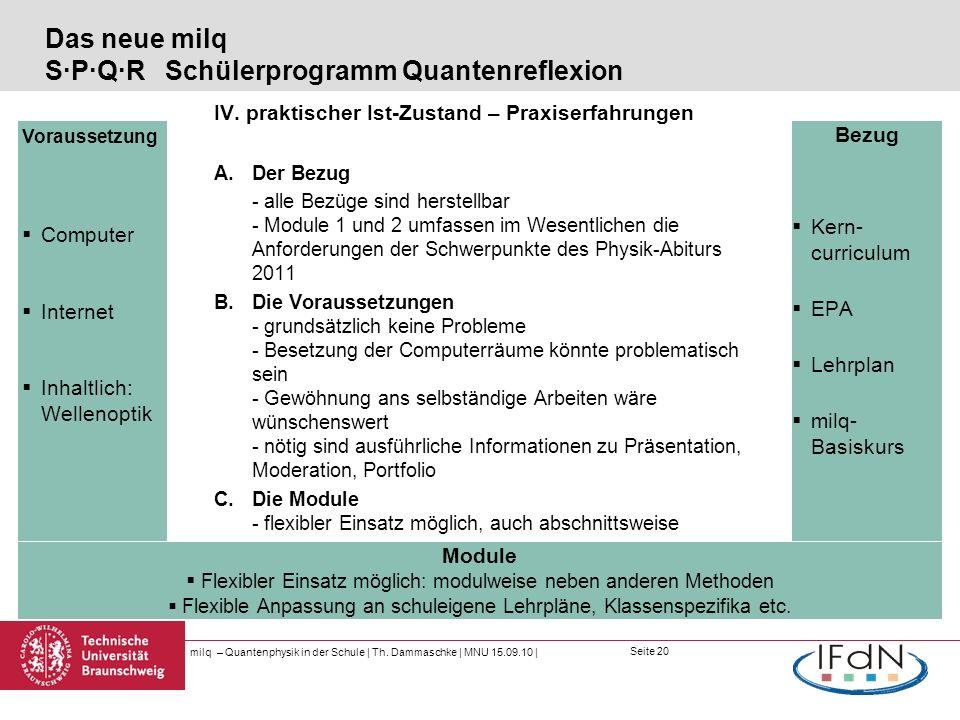Seite 20 Das neue milq S·P·Q·R Schülerprogramm Quantenreflexion IV. praktischer Ist-Zustand – Praxiserfahrungen A.Der Bezug - alle Bezüge sind herstel