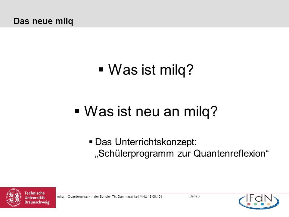 Seite 3 Das neue milq Was ist milq? Was ist neu an milq? Das Unterrichtskonzept: Schülerprogramm zur Quantenreflexion milq – Quantenphysik in der Schu