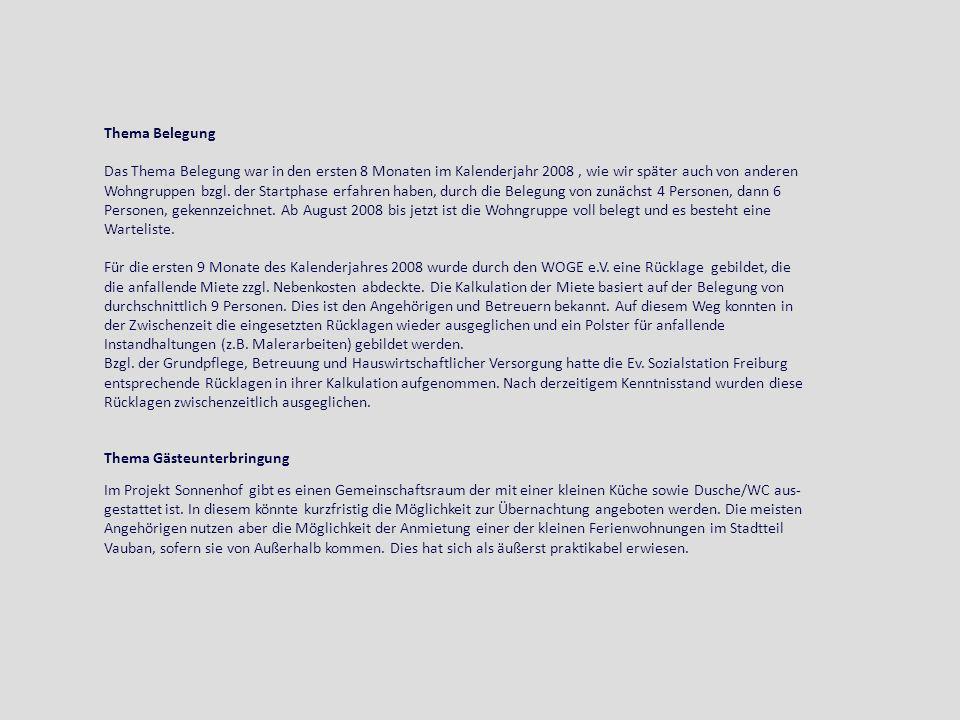 Thema Belegung Das Thema Belegung war in den ersten 8 Monaten im Kalenderjahr 2008, wie wir später auch von anderen Wohngruppen bzgl. der Startphase e