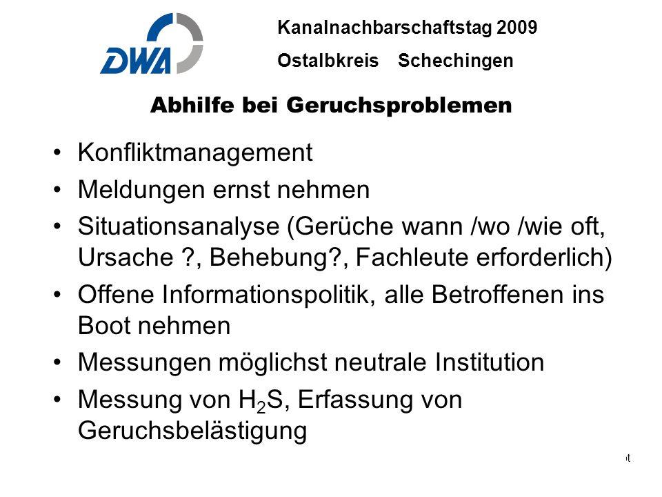 Kanalnachbarschaftstag 2009 Ostalbkreis Schechingen DWA 2009 ble.ppt 29. Okt.2009 DWA-03-06 INGENIEURBÜRO BÄUERLE & PARTNER Abhilfe bei Geruchsproblem