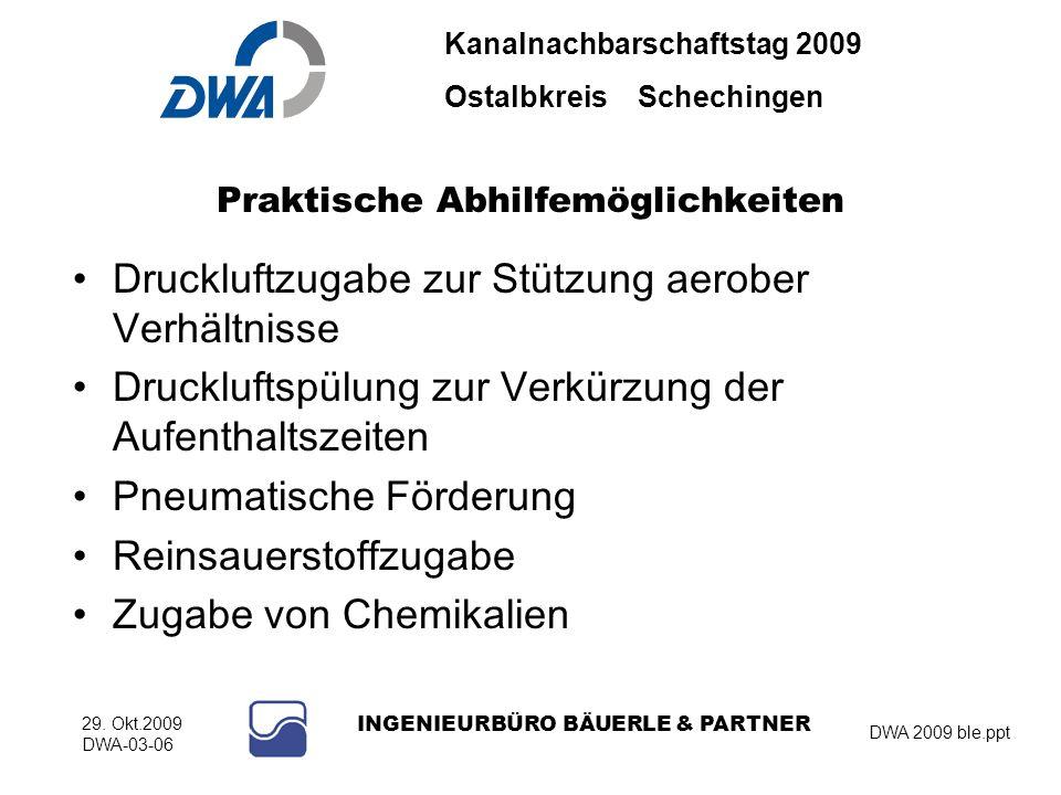 Kanalnachbarschaftstag 2009 Ostalbkreis Schechingen DWA 2009 ble.ppt 29. Okt.2009 DWA-03-06 INGENIEURBÜRO BÄUERLE & PARTNER Praktische Abhilfemöglichk