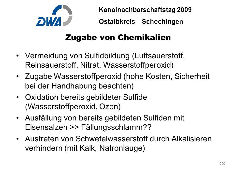Kanalnachbarschaftstag 2009 Ostalbkreis Schechingen DWA 2009 ble.ppt 29. Okt.2009 DWA-03-06 INGENIEURBÜRO BÄUERLE & PARTNER Zugabe von Chemikalien Ver