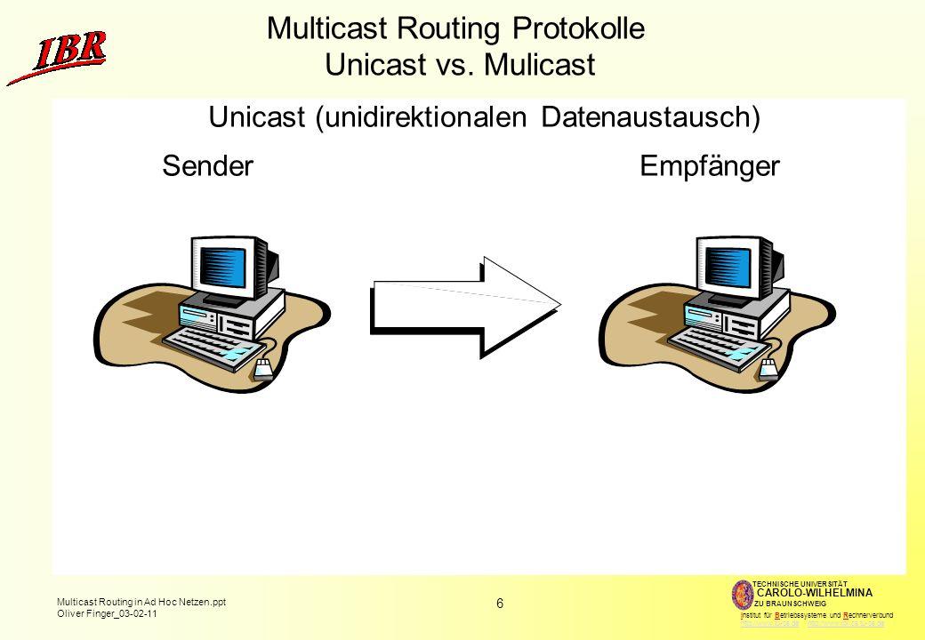 6 Multicast Routing in Ad Hoc Netzen.ppt Oliver Finger_03-02-11 TECHNISCHE UNIVERSITÄT ZU BRAUNSCHWEIG CAROLO-WILHELMINA Institut für Betriebssysteme und Rechnerverbund http://www.tu-bs.de http://www.ibr.cs.tu-bs.dehttp://www.tu-bs.dehttp://www.ibr.cs.tu-bs.de Multicast Routing Protokolle Unicast vs.