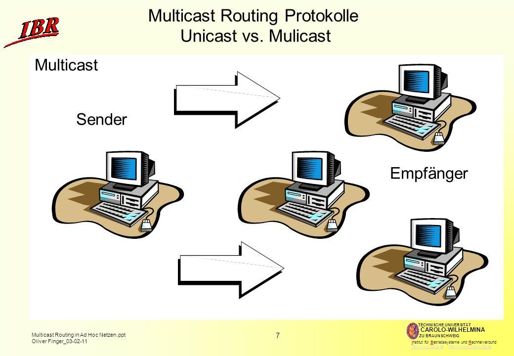7 Multicast Routing in Ad Hoc Netzen.ppt Oliver Finger_03-02-11 TECHNISCHE UNIVERSITÄT ZU BRAUNSCHWEIG CAROLO-WILHELMINA Institut für Betriebssysteme und Rechnerverbund http://www.tu-bs.de http://www.ibr.cs.tu-bs.dehttp://www.tu-bs.dehttp://www.ibr.cs.tu-bs.de Multicast Routing Protokolle Unicast vs.