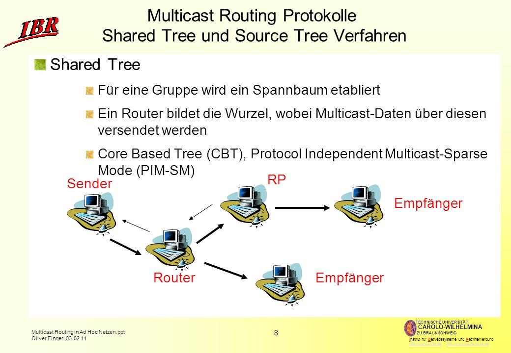 8 Multicast Routing in Ad Hoc Netzen.ppt Oliver Finger_03-02-11 TECHNISCHE UNIVERSITÄT ZU BRAUNSCHWEIG CAROLO-WILHELMINA Institut für Betriebssysteme und Rechnerverbund http://www.tu-bs.de http://www.ibr.cs.tu-bs.dehttp://www.tu-bs.dehttp://www.ibr.cs.tu-bs.de Multicast Routing Protokolle Shared Tree und Source Tree Verfahren Shared Tree Für eine Gruppe wird ein Spannbaum etabliert Ein Router bildet die Wurzel, wobei Multicast-Daten über diesen versendet werden Core Based Tree (CBT), Protocol Independent Multicast-Sparse Mode (PIM-SM) RP Sender Empfänger Router