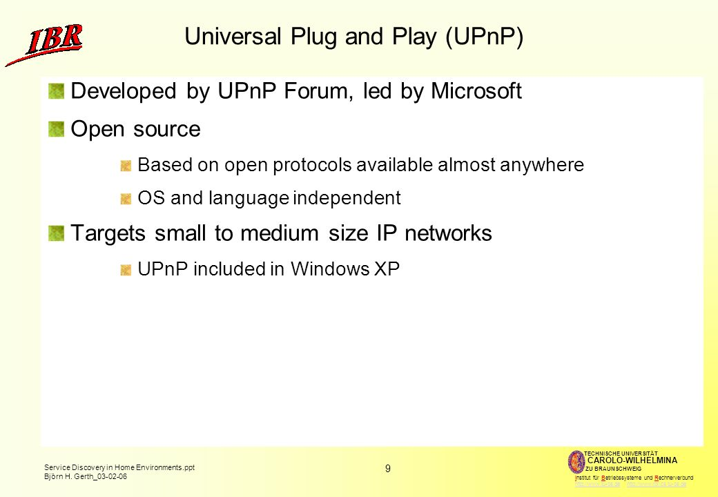 10 Service Discovery in Home Environments.ppt Björn H.