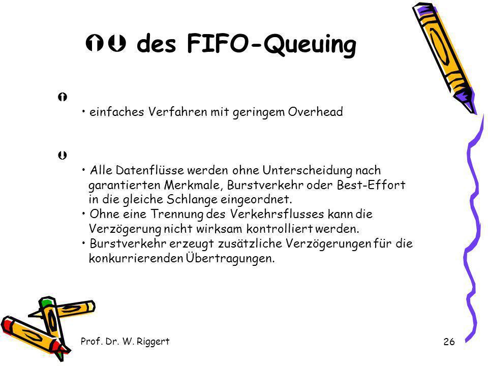 Prof. Dr. W. Riggert 26 des FIFO-Queuing einfaches Verfahren mit geringem Overhead Alle Datenflüsse werden ohne Unterscheidung nach garantierten Merkm