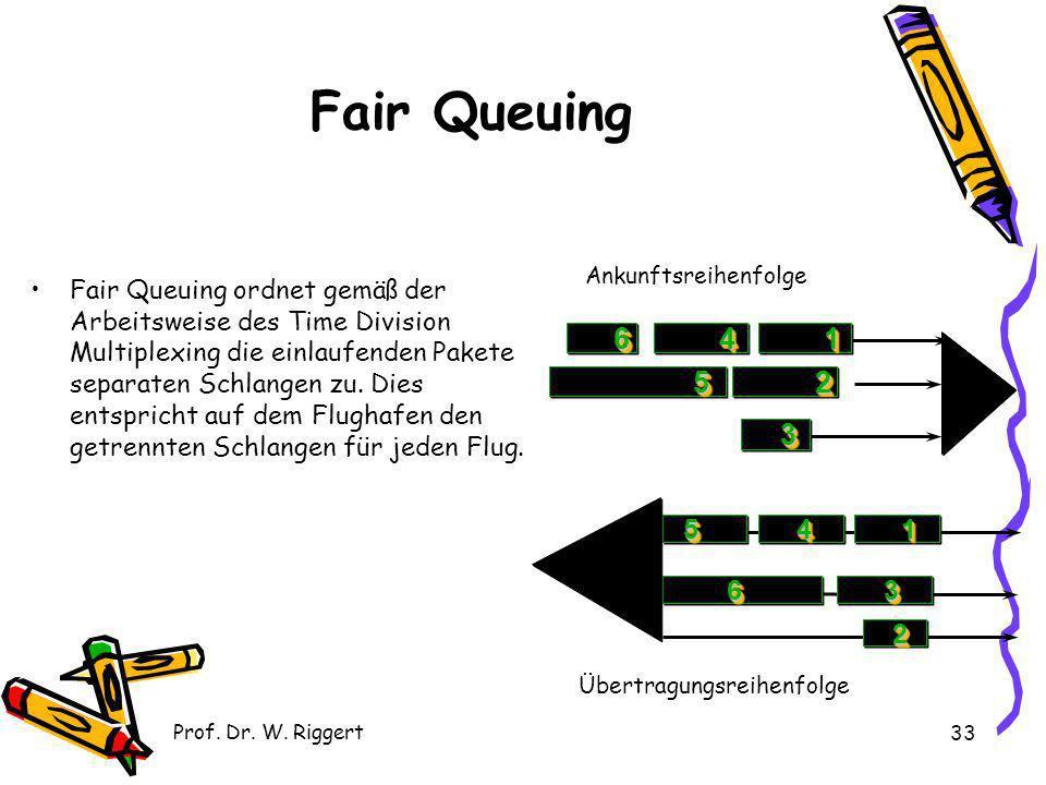 Prof. Dr. W. Riggert 33 Fair Queuing Fair Queuing ordnet gemäß der Arbeitsweise des Time Division Multiplexing die einlaufenden Pakete separaten Schla