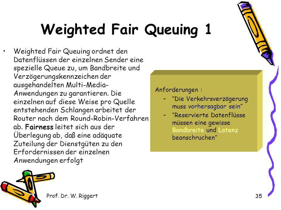 Prof. Dr. W. Riggert 35 Weighted Fair Queuing 1 Weighted Fair Queuing ordnet den Datenflüssen der einzelnen Sender eine spezielle Queue zu, um Bandbre