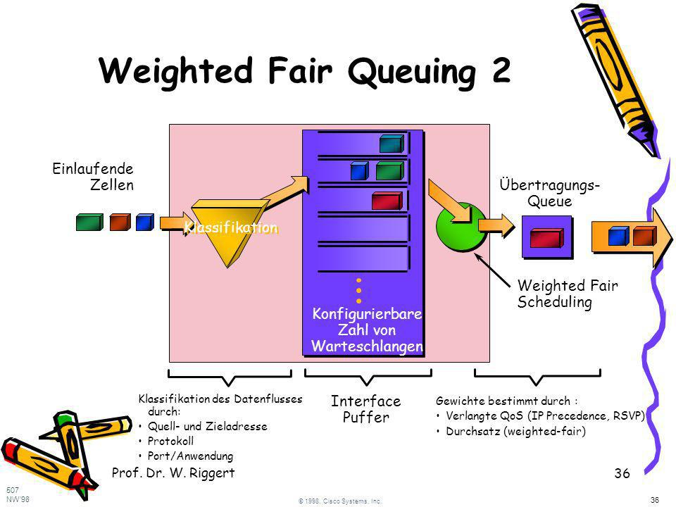 Prof. Dr. W. Riggert 36 Weighted Fair Queuing 2 Interface Puffer Konfigurierbare Zahl von Warteschlangen Klassifikation des Datenflusses durch: Quell-