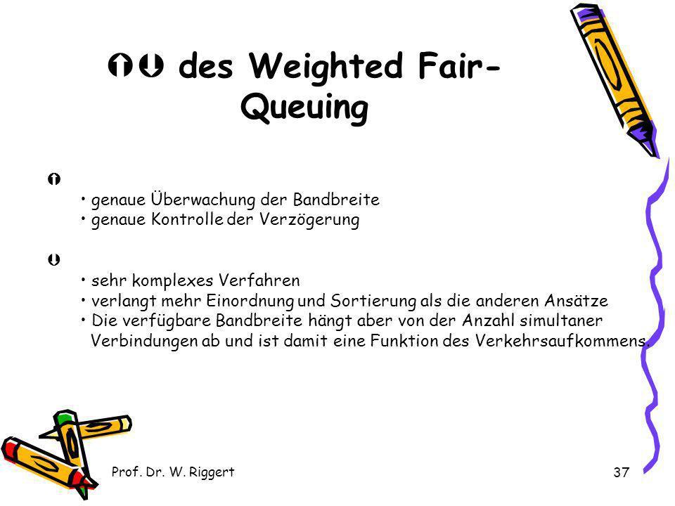 Prof. Dr. W. Riggert 37 des Weighted Fair- Queuing genaue Überwachung der Bandbreite genaue Kontrolle der Verzögerung sehr komplexes Verfahren verlang