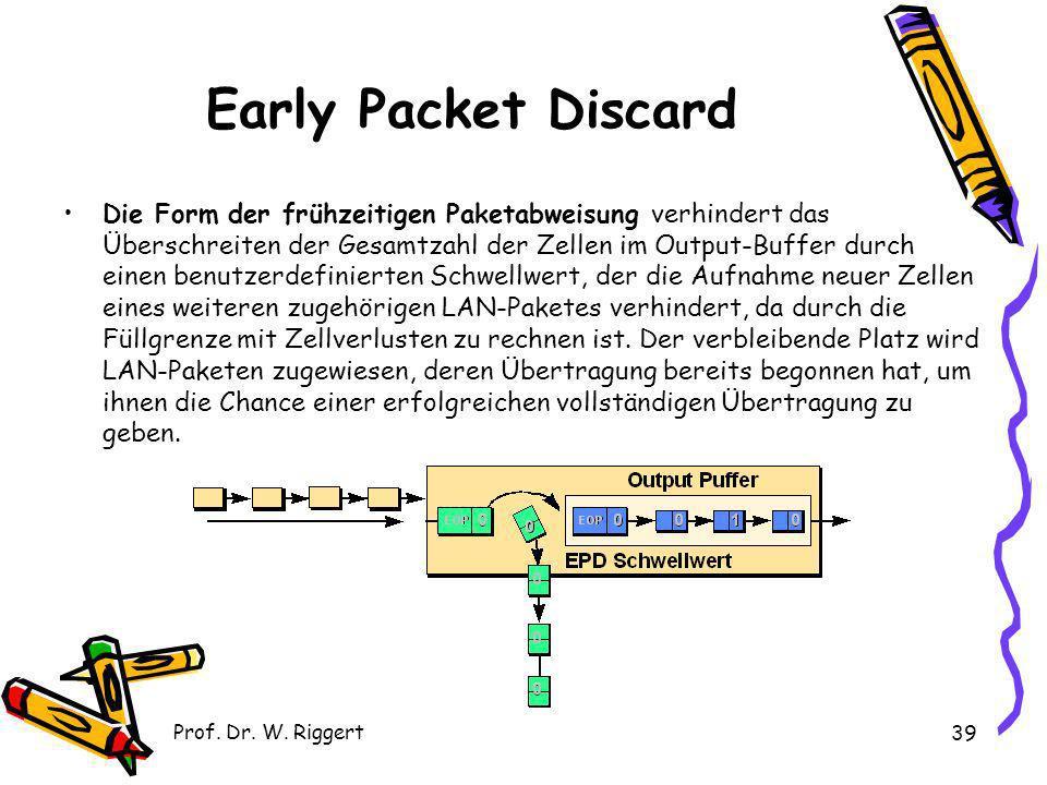 Prof. Dr. W. Riggert 39 Early Packet Discard Die Form der frühzeitigen Paketabweisung verhindert das Überschreiten der Gesamtzahl der Zellen im Output