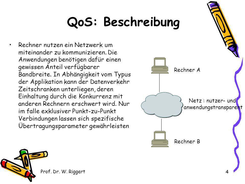 Prof. Dr. W. Riggert 4 QoS: Beschreibung Rechner nutzen ein Netzwerk um miteinander zu kommunizieren. Die Anwendungen benötigen dafür einen gewissen A