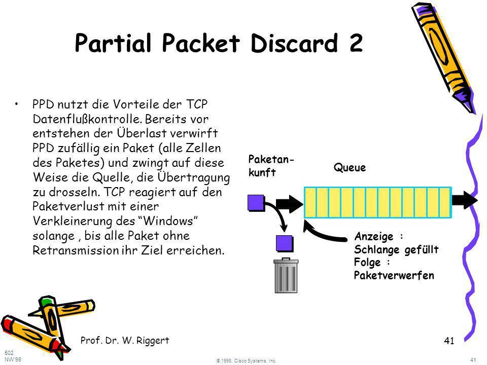 Prof. Dr. W. Riggert 41 Partial Packet Discard 2 PPD nutzt die Vorteile der TCP Datenflußkontrolle. Bereits vor entstehen der Überlast verwirft PPD zu