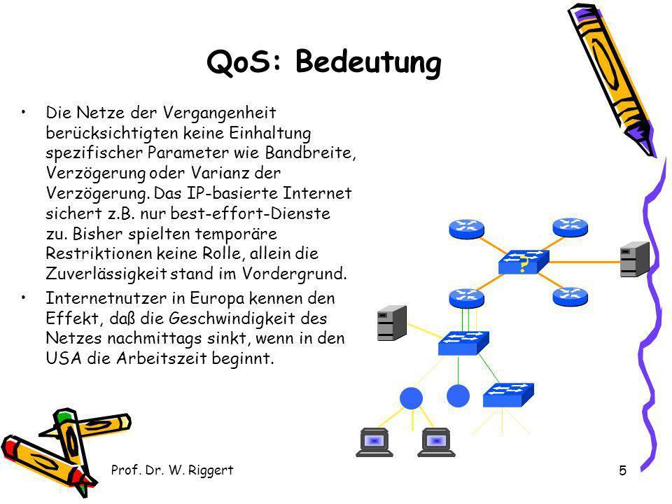 Prof. Dr. W. Riggert 5 Die Netze der Vergangenheit berücksichtigten keine Einhaltung spezifischer Parameter wie Bandbreite, Verzögerung oder Varianz d